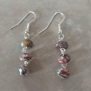 Gorgeous Triple Earthtone Stone Drop Hook Earrings